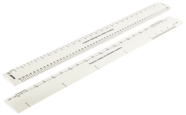 Rulex 30cm 12 Inch Flat Oval Conversion Ruler - Imperial Readings ...
