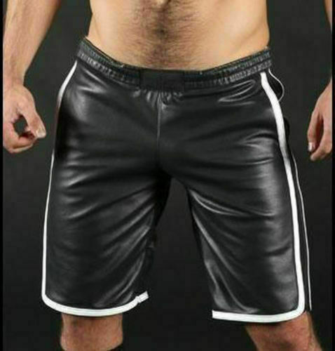 Men/'s Genuine Leather Real Lambskin Shorts Gym Boxer Soft Black Pant White Lined