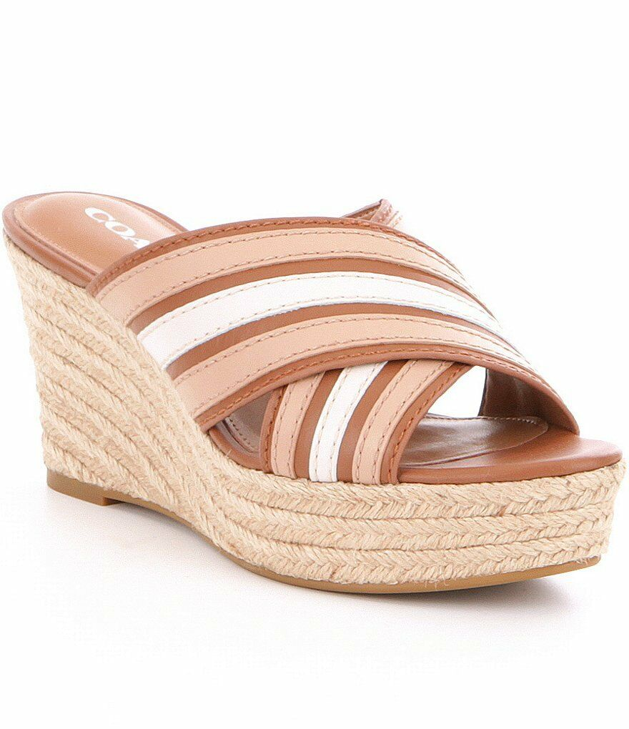 NIB COACH FLORENTINE ESPADRILLE WEDGE SADDLE BEECHWOOD SANDALS Größe 8 1 2 M
