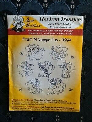 Puppy Fun Aunt Martha/'s DOW Hot Iron Embroidery Transfer Pattern #3748