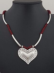 modern antiqued silver tubes red ruby beads strand heart necklace