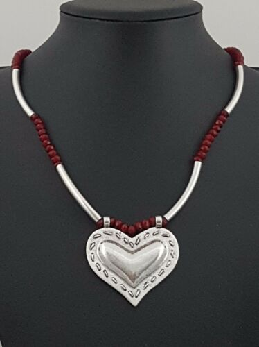 Modern Antiqued Silver tubes Red Ruby Beads Strand Heart Necklace Lagenlook J