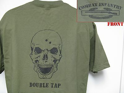 COMBAT INFANTRY BADGE T-SHIRT/ SKULL DOUBLE TAP/MILITARY/ARMY T-SHIRT/ THICK/NEW