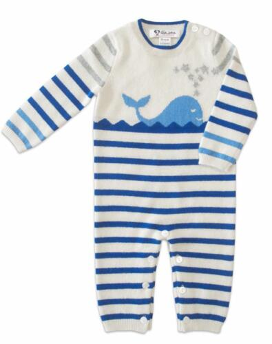 Infant Boy/'s Striped Coverall 100/% Cashmere Blue