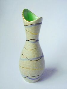 1950-039-s-Fish-Mouth-Ceramic-Posy-Vase-Crackle-Glaze-amp-Gold-Lustre-Green-Interior