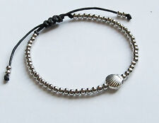 antique vintage silver shell charm tiny bead black cord friendship bracelet new