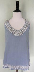 J. JILL Blue White Embroidered Floral Sleeveless Tunic Top Shirt Sz XS P Petite