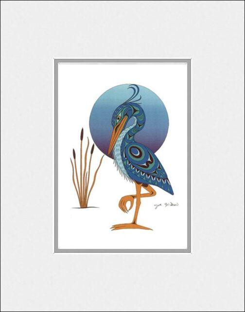 New matted art print BLUE HERON totem by Coast Salish Cowichan artist JOE WILSON