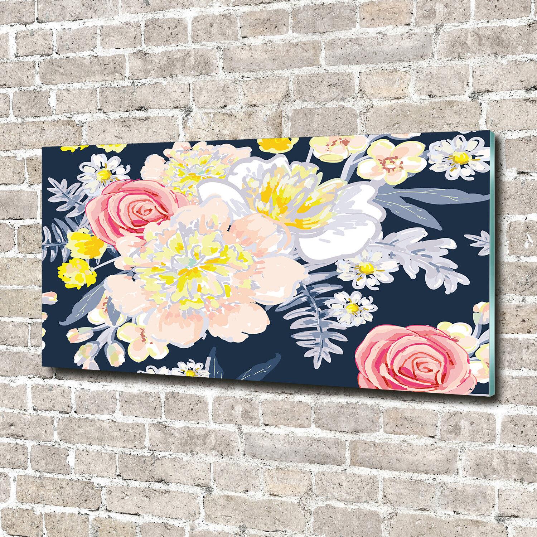 Wandbild aus Plexiglas® Druck auf Acryl 140x70 Blaumen & Pflanzen Blaumenmuster