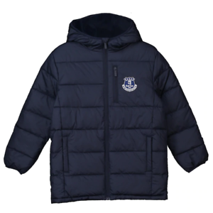 Navy Everton Kids Football Jacket Boys Full Zip Padded Coat New