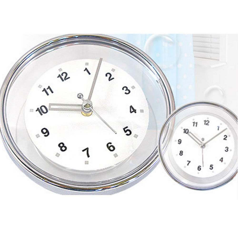 chrome bathroom wall clock suction watch kitchen shower. Black Bedroom Furniture Sets. Home Design Ideas