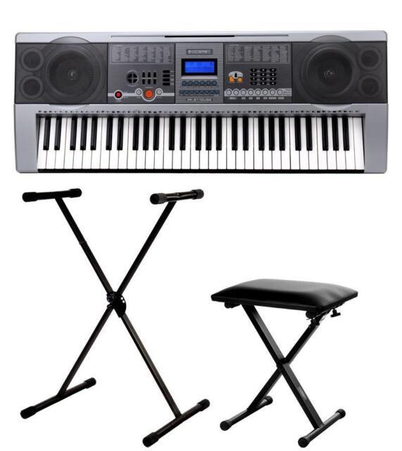 professional 61 keys keyboard e piano 100 sounds rhythms usb stand bench set for sale online. Black Bedroom Furniture Sets. Home Design Ideas