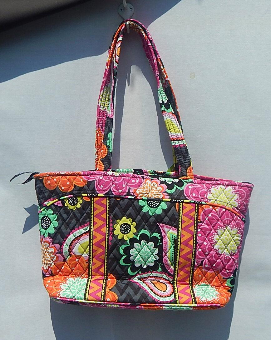 Vera Bradley Ziggy Zinnia Mandy Satchel Colorful Purse Carryall Bag Black Norton Secured Powered By Verisign