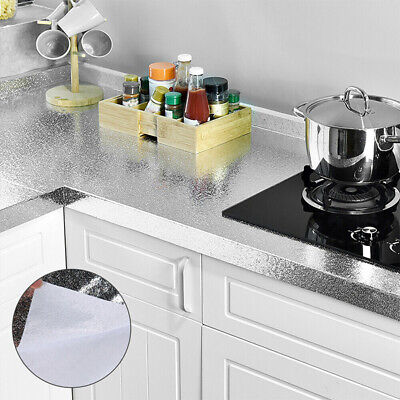 1X Wasserfest Öl Beweis Aluminium Folie Selbstklebend Küche Wand Sticker 2m Set