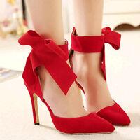 Wild Diva Black Blue Red Pointy Toe Bow Pump High Heel Women's Shoes Akira-24
