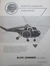 10/1957 PUB ALVIS LEONIDES AERO ENGINES BRISTOL SYCAMORE HUBSCHRAUBER GERMAN AD