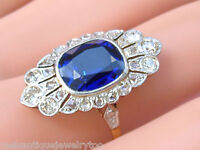 ANTIQUE DECO .75ctw DIAMOND 4ct BLUE SAPPHIRE PLATINUM COCKTAIL RING 1930 size11