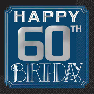 HAPPY 60th BIRTHDAY BEVERAGE NAPKINS PARTY TABLE DECORATION BLUE SILVER & BLACK