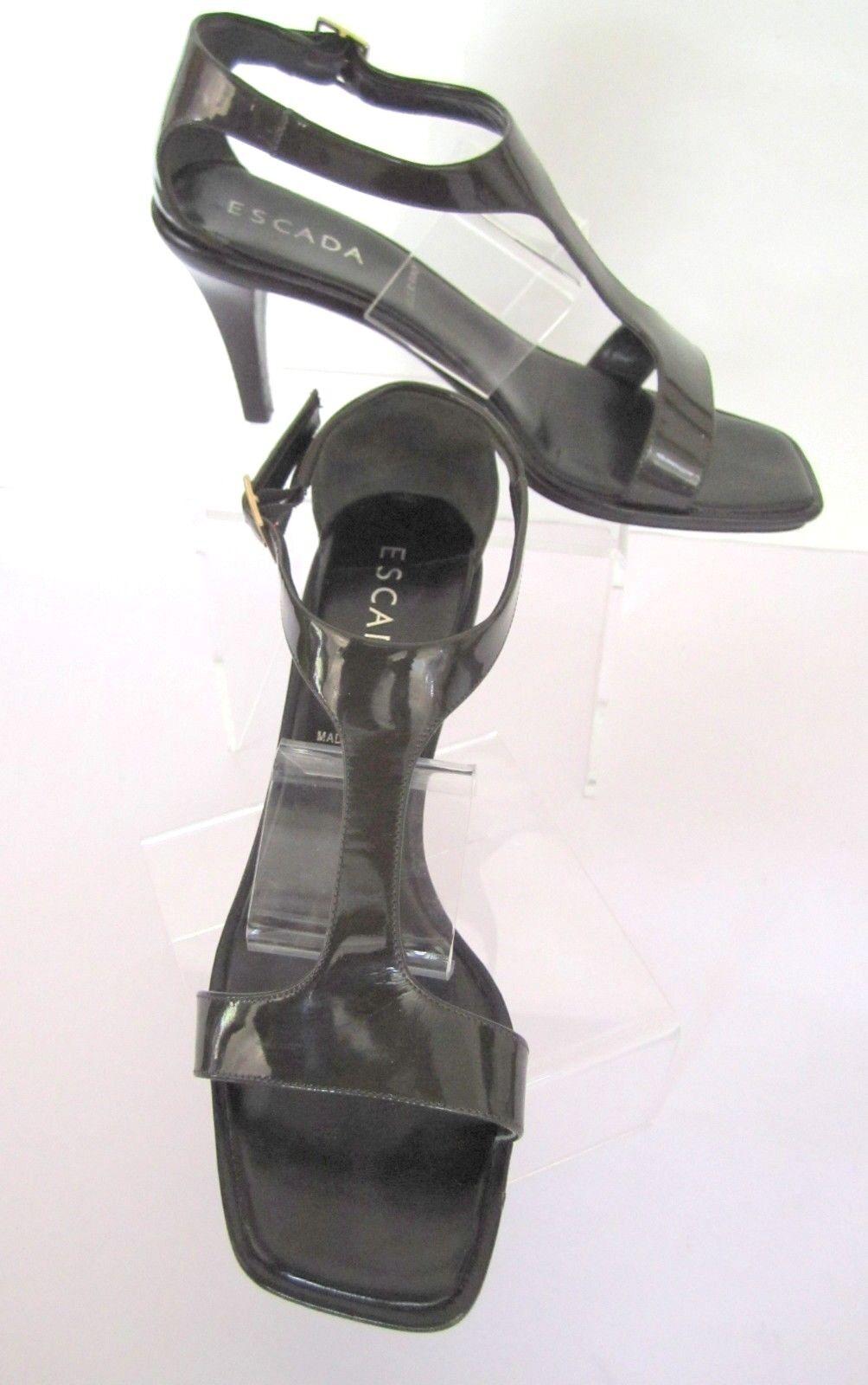 ESCADA Charcoal Patent Patent Patent T-Strap Stacked Heels Pumps Größe 8 EU 38 b95bf8