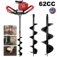 62cc Post Hole Digger Gas Powered Earth Auger Borer Fence Ground Drill 3 Bits
