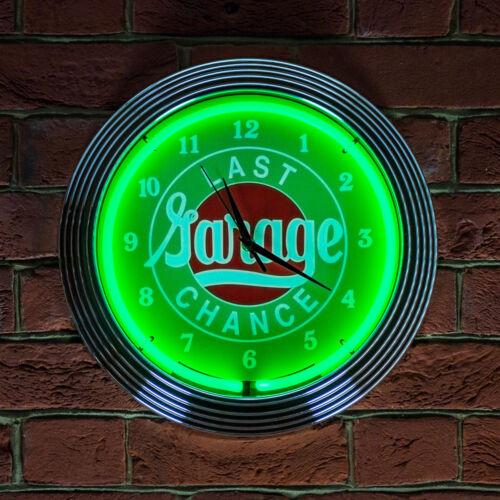 LAST CHANCE GARAGE Neon Light Wall Clock For Kitchen Shop ManCave 38cm Green UK