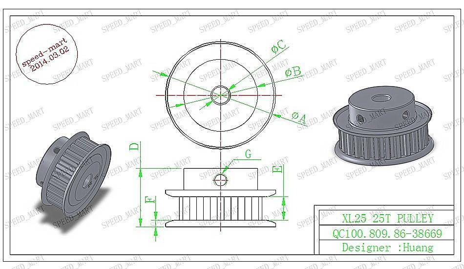 xl type xl25t aluminum timing belt pulley 25 teeth 6mm bore for stepper motor