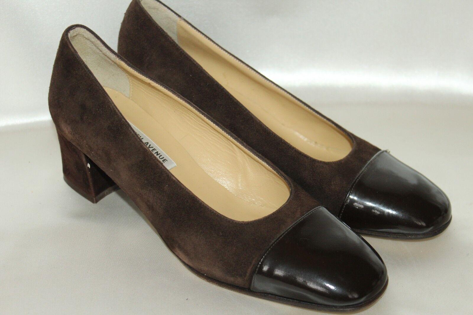 Saks Fifth Avenue Chocolate Dk Brown Suede Patent Cap Toe Heels Pumps Sz 7 ITALY