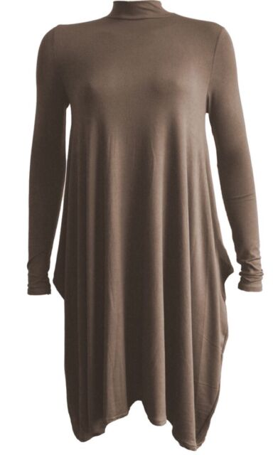 NEW LADIES TURTLE POLO ROLL NECK LONGSLEEVE PLUS SIZES WATERFALL TOP SWING DRESS