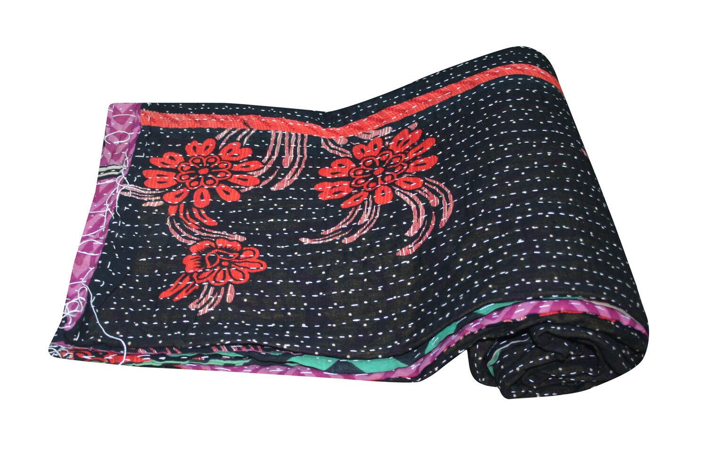 Reversible Floral Kantha Quilt Ralli Decor Bohemian Indian Vintage Throw Bedding
