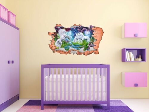 3D Sticker Transfer, FULL COLOUR Unicorn Smashed Wall Decal Art