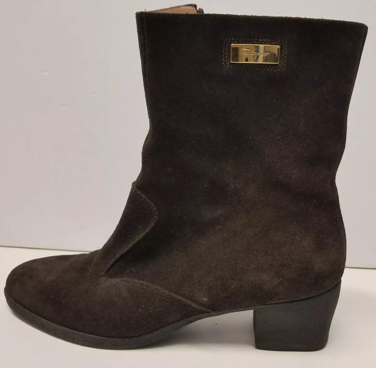 Damens Salvatore Ferragamo LAPO Suede Stiefel 7.5 AA Braun Mustang Buc zipper