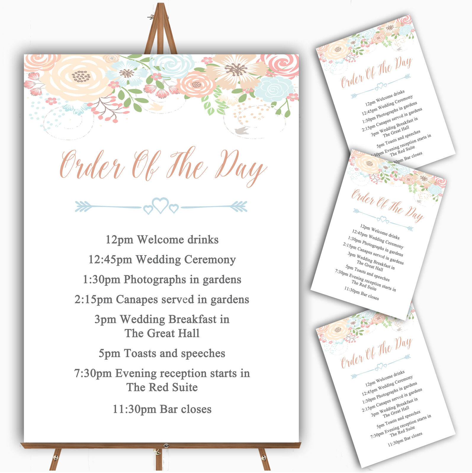 Coral Peach & Blau Watercolour Floral Header Wedding Order Of The Day Cards