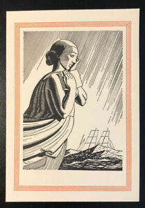 Rockwell-Kent-ex-Libris-Bookplate-Art-Deco-Ship-High-Seas-Unused-1930s