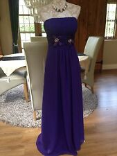 LIGHT IN THE BOX PURPLE BANDEAU STRAPLESS DIAMANTE LONG BALL GOWN PROM DRESS 12