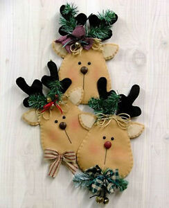 Country-Side-Crafts-PATTERN-Rudy-amp-Friends-Felt-Wall-Hanging-Primitive-Xmas