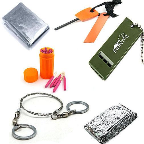 Survival Whistle+Flint Stone+Saw+Sleeping Bag+Windproof Matches+Sleeping Blanket