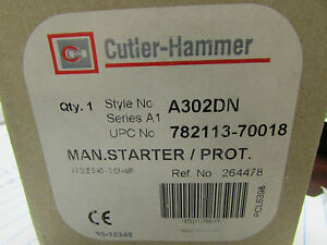 CUTLER-HAMMER A302CN Manual Starter//Protector 3-P 0.4AMP NEW IN BOX