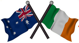 AUSTRALIA IRISH FLAG  Decal size APR. 100mm H by 53 mm W gloss laminated