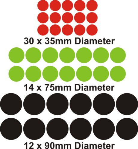 DOTS or SPOTS Wall Art Stickers gloss Finish 3 x Sizes Many Colours decals