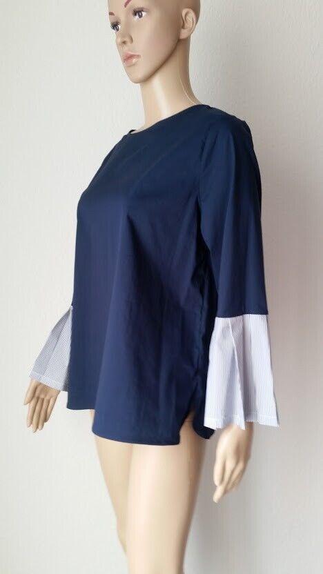 Sem per Lei Blausentop mit Trompetenärmeln, farblich abgesetzt, in blau. Größe 40