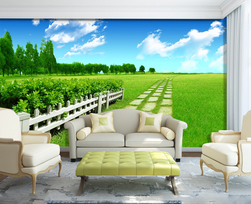 3D grassland outdoor cloud Wall Paper Print Decal Wall Deco Indoor wall Mural