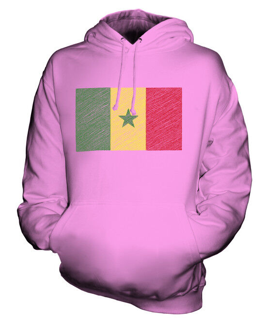 SENEGAL SCRIBBLE FLAG UNISEX HOODIE TOP GIFT SÉNÉGAL SENEGALESE