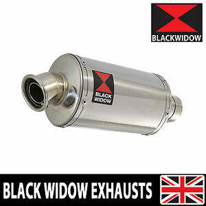 BLACK-WIDOW-STAINLESS-STEEL-EXHAUST-SILENCER-END-CAN-230mm-OVAL-SLIP-ON-230SS
