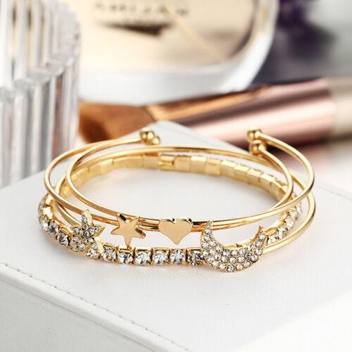 Open Cuff Bracelet Bangle Star Crescent Rhinestone bangle Party Prom Gift C