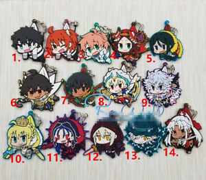 Anime Game Fate//Grand Order FGO rubber Keychain Key Ring Race straps