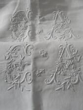 Exquisite pair antique French 19thC fine linen whitework trousseau pillowcases