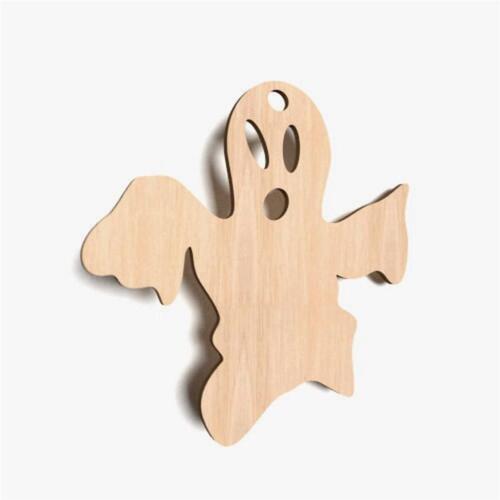 10x Geist Boo Spooky Form Holz Basteln Dekoration Malen Hängedeko (X36c)