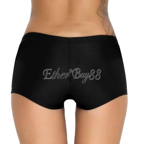 Womens Plus Size High Waisted Bikini Tankini Solid Bathing Bottoms Swim Briefs