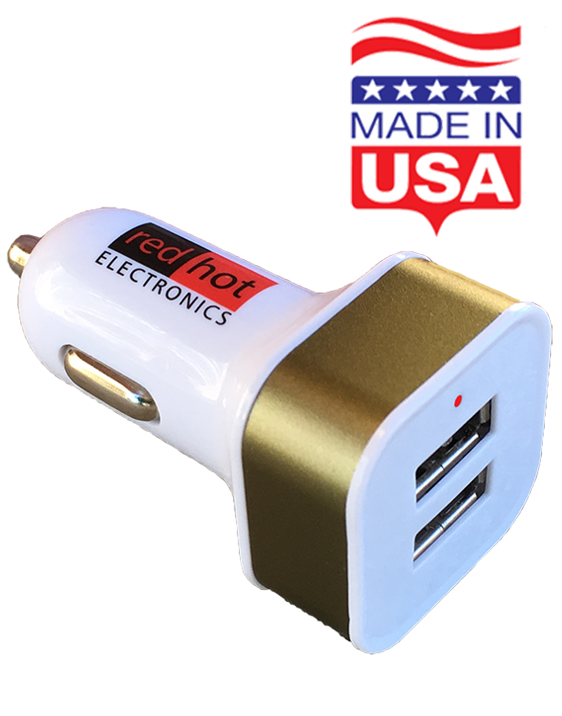 *MADE IN USA* Smart Dual USB Car Charger 24W iPhone11 12 Samsung LG Android Gold