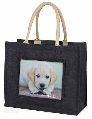 Labrador Welpen' Liebe, die sie Mama' große schwarze Einkaufstasche Christmas P,